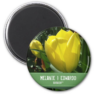 Yellow Tulip Flowers Wedding Magnet