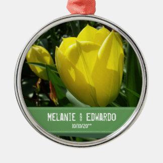 Yellow Tulip Flowers Wedding Metal Ornament