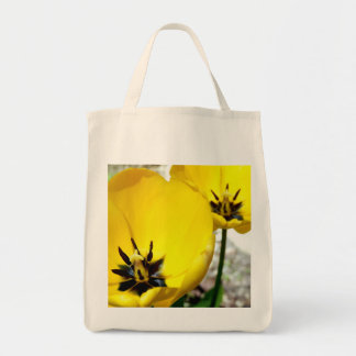 Yellow Tulip Grocery Tote Bag
