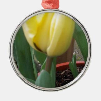 Yellow tulip metal ornament