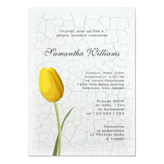 Yellow Tulip on Crackle Paint Bridal Shower Custom Invites