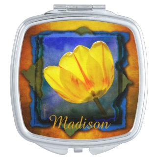 Yellow Tulip on Orange Blue and Green Mirror