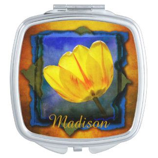 Yellow Tulip on Orange Blue and Green Mirror Mirrors For Makeup