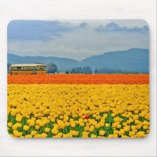 Yellow Tulips and School Bus Mouse Pad