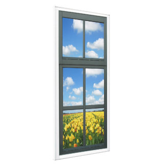 Yellow Tulips Faux Window View Gallery Wrap Canvas