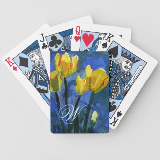 Yellow Tulips Monogram Bicycle Playing Cards
