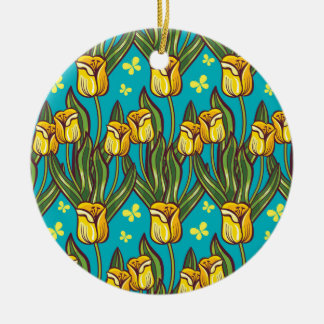 Yellow tulips on a blue background round ceramic decoration