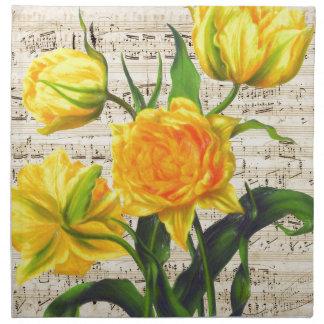 Yellow tulips song napkin