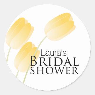 Yellow Tulips Spring Floral Bridal Shower Round Sticker