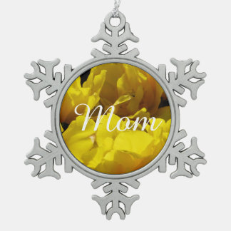 Yellow Tulips Through Sunbeams Snowflake Pewter Christmas Ornament