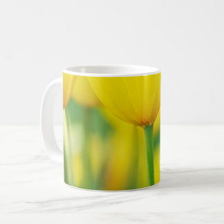 Yellow Tulips with Green Coffee Mug