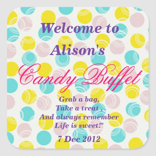 Yellow Turquoise Candy Buffet  Sticker