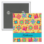 Yellow Turquoise Patchwork Quilt Blocks Name Badge Pin