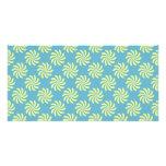 Yellow twirls on blue background photo cards