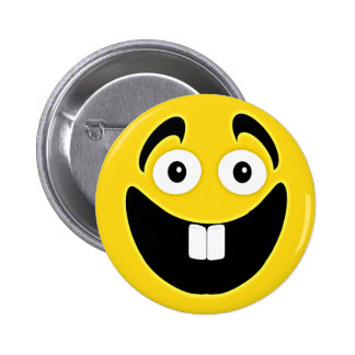 Yellow Two Front Teeth Smiley Face 6 Cm Round Badge