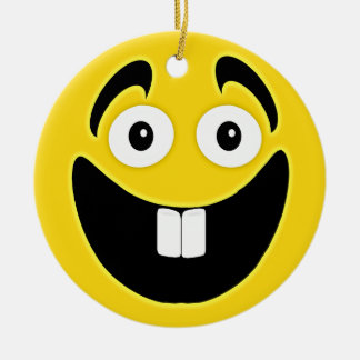 Yellow Two Front Teeth Smiley Face Ceramic Ornament