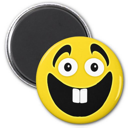 Yellow Two Front Teeth Smiley Face Magnet