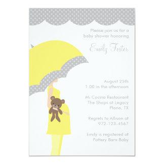 Yellow Umbrella Baby Shower Invitations