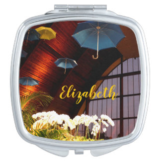 Yellow Umbrella White Flowers Art Photography Mirrors For Makeup