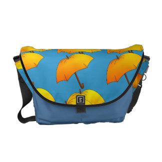 Yellow umbrellas messenger bag