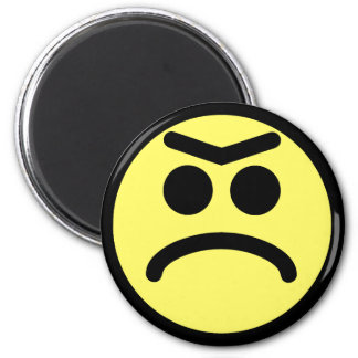 Yellow Unibrow Frown Smiley Face Magnet