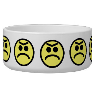 Yellow Unibrow Frown Smiley Face Pet Water Bowl