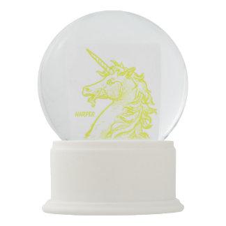 Yellow Unicorn Magical Horse Add Name Snow Globe