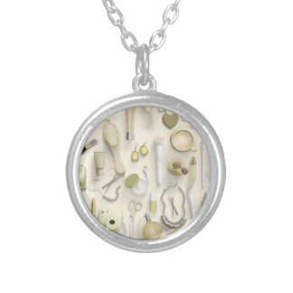 Yellow Vanity Table Silver Plated Necklace