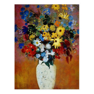 yellow Vase of Flowers, Odilon Redon flowers Postcard