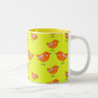 Yellow Vector pattern of cute  Birds Two-Tone Coffee Mug