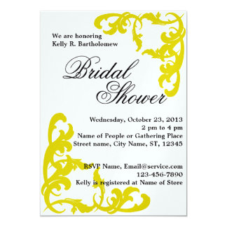 Yellow Victorian Flourish Filigree Bridal Shower 13 Cm X 18 Cm Invitation Card