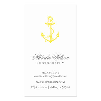 Yellow Vintage Anchor Vertical Business Card Templates