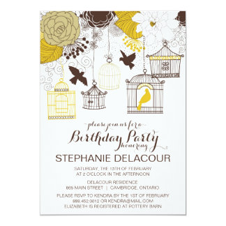 Yellow Vintage Birdcages Birthday Invitation
