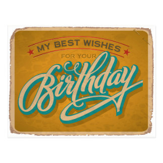 Yellow Vintage Birthday Postcard