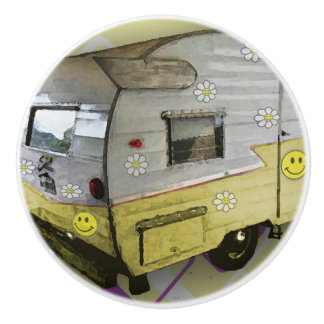 Yellow Vintage Camper Trailer knob