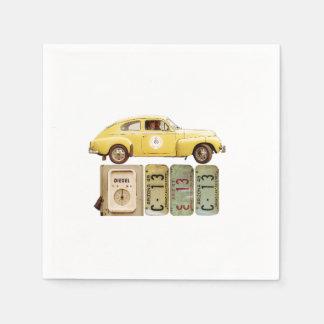 Yellow Vintage Car Disposable Serviette