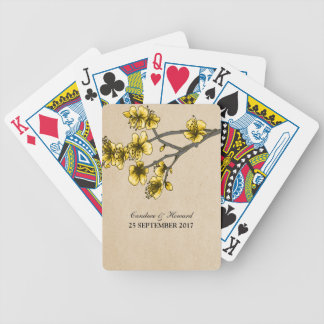 Yellow Vintage Cherry Blossoms Cards