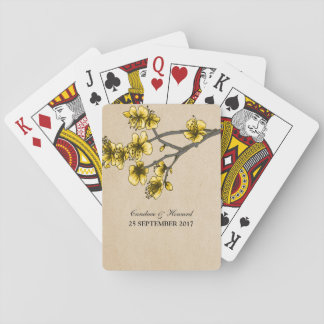 Yellow Vintage Cherry Blossoms Playing Cards