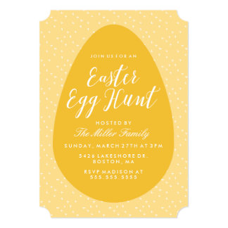 Yellow Vintage Easter Egg Hunt 13 Cm X 18 Cm Invitation Card