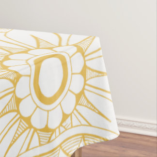 Yellow Vintage Floral Medallion Pattern Tablecloth