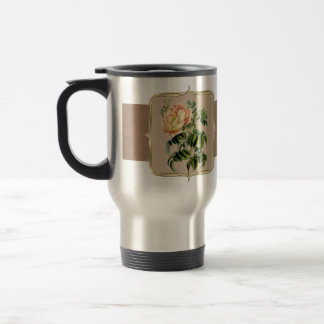Yellow Vintage Flowers Wide Travel Mug