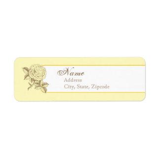 Yellow Vintage French Return Address Label