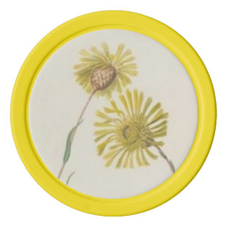 Yellow Vintage Wildflowers Set Of Poker Chips