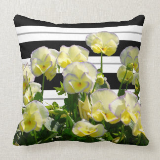 Yellow Violas Over Black And White Stripes Pillow