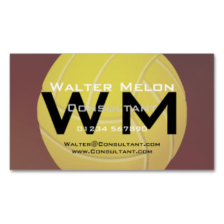 Yellow Volleyball Earthy Red Background Magnetic Business Cards