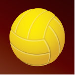 Yellow Volleyball Earthy Red Background Photo Sculpture Badge