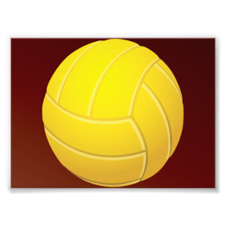 Yellow Volleyball Earthy Red Background Photograph