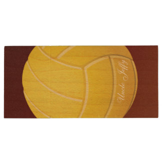 Yellow Volleyball Monogram Name Wood USB 3.0 Flash Drive