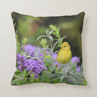 Yellow Warbler and Purple Flowers Cushion