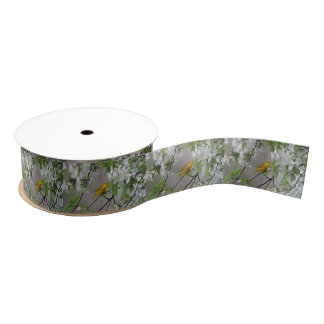 Yellow Warbler and Spring Blossoms Grosgrain Ribbon